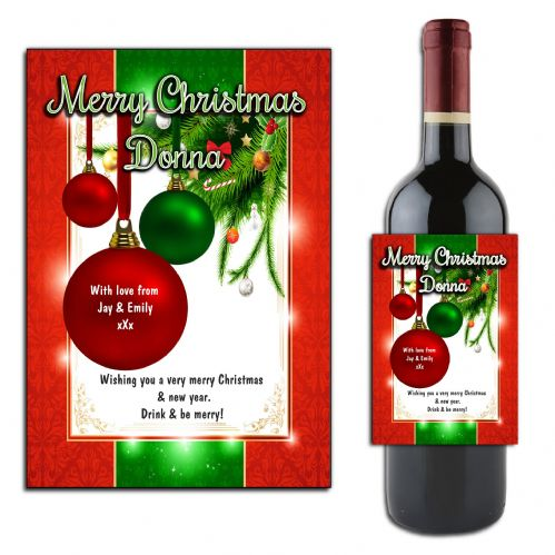 Personalised Christmas Wine or Champagne Bottle Label N173